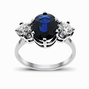 Sapphire & Diamond White Gold Three Stone Ring 12 x 10 mm